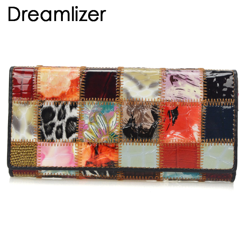 Fashion Autumn Shining Genuine Leather Wallets for Women Long <font><b>Bracelet</b></font> Clutch Purse Patchwork Design Female Card Holder Coin Bag