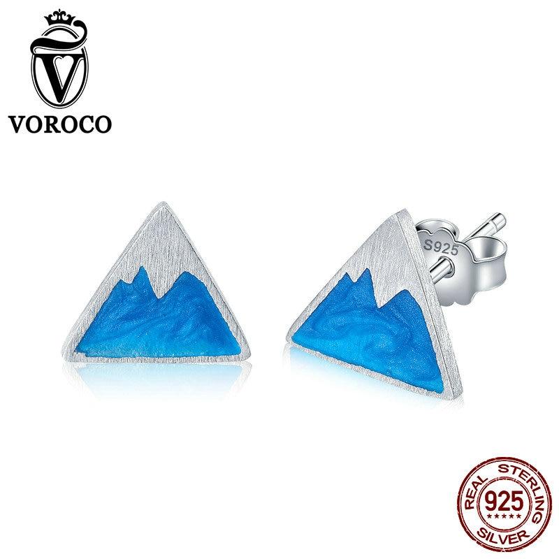 VOROCO 2018 Fashion Ice Mountain Enamel Stud Earrings