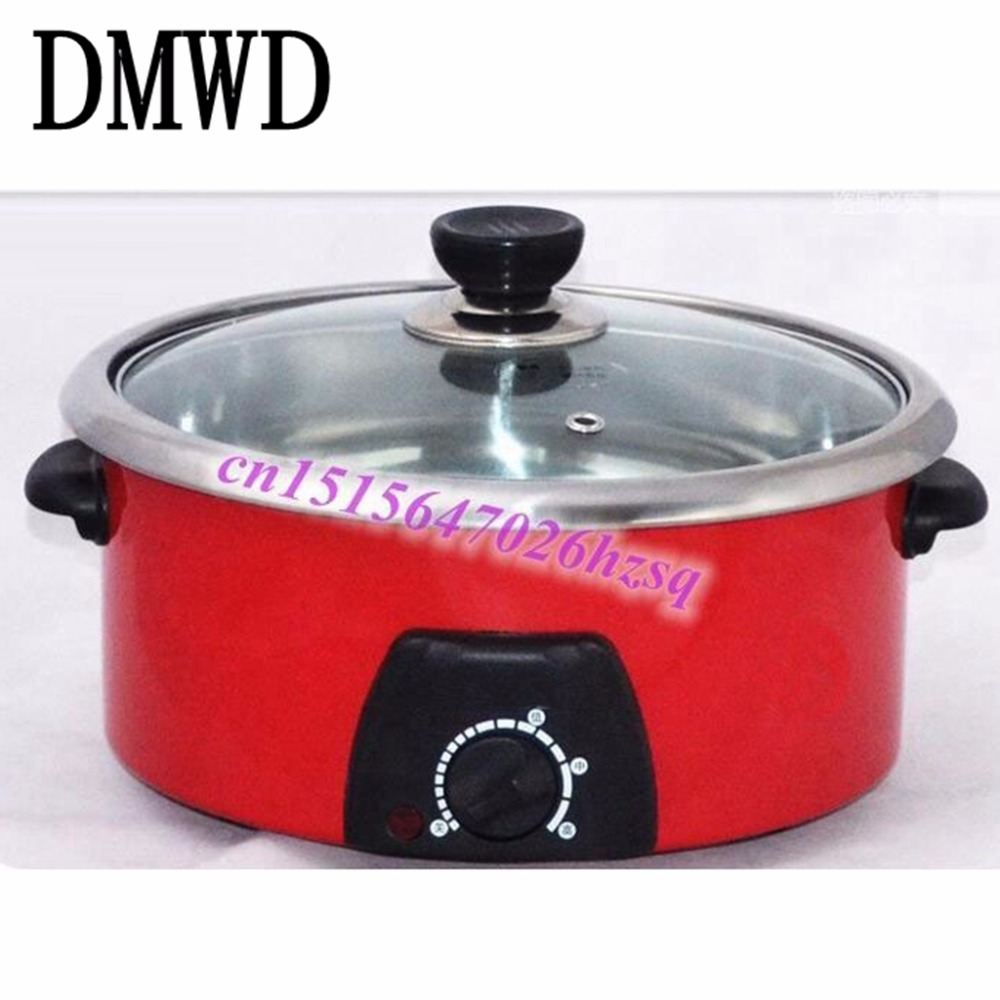 DMWD Family expenses Multifunctional cooker Cooker 4L large capacity stainless steel cooking pot Heating insulation 220v 600w 1 2l portable multi cooker mini electric hot pot stainless steel inner electric cooker with steam lattice for students
