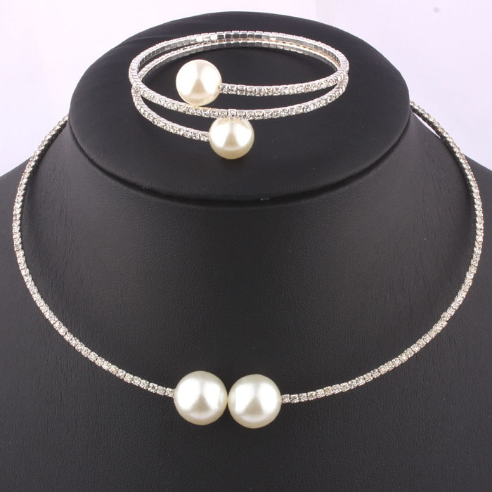 viviLady New Bridal Wedding Jewelry Sets Double Imitation Pearl Rhinestone Silver Plated Crystal Necklace and font