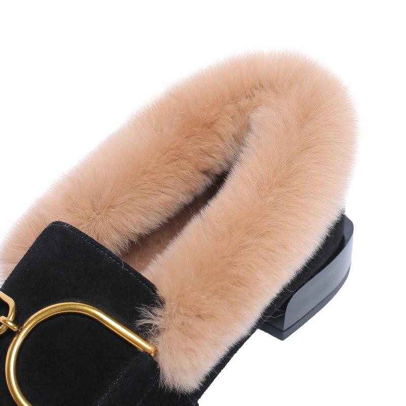 Invierno Mujer Mujeres Zapatos E Genuino rosado Otoño De Bombas Conejo Caliente Pelo Moda Las 2019 Mano Negro A Cuero Nuevo Hecho qEpwfU