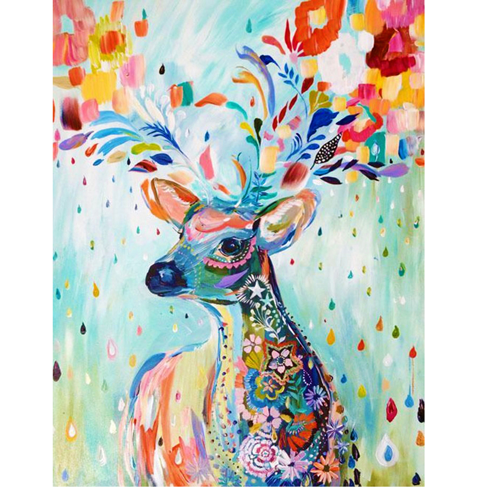 3d diy acrylic animals deer oil painting by numbers on for How paint on canvas