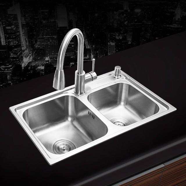 680 390 220mm 304 Stainless Steel Undermount Kitchen Sink Set