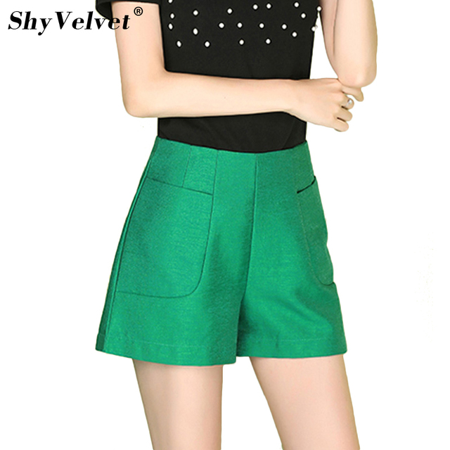 2018 Summer New High Waisted Wide Leg Shorts for Women Short Slim Hotpants Casual Wear Plus Size XXL Green Black Navy White Gray