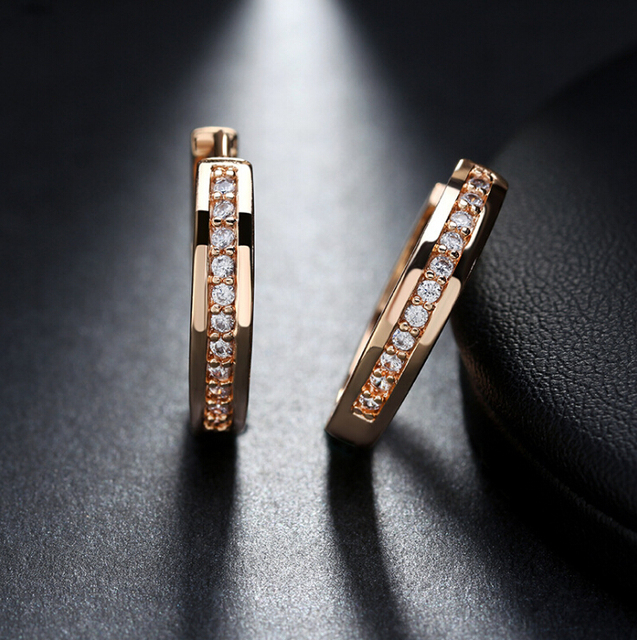 01ee4cf3ae79 Romad Pendientes de aro plata y oro color punk rock AAA zirconia Pendientes  para mujeres boda