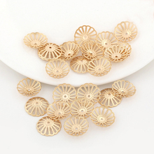 10PCS 13MM 24K Champagne Gold Color Plated Brass Flower Beads Caps High Quality Diy Jewelry Accessories