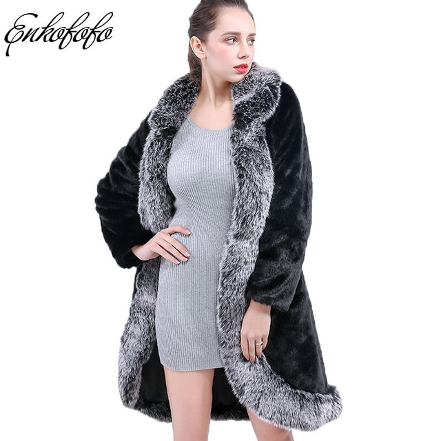0528e4d3bf Elegant Faux Fur Coat Women 2018 Winter Thick Warm Skirt Style Mink Fur  Coats Large Fox Collar Long Sleeve Slim Jacket S-4XL