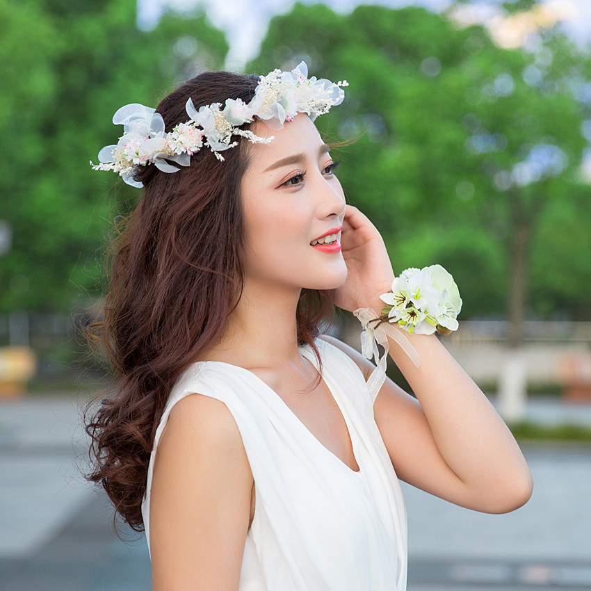 dulce nia adornos para el cabello diadema hairband de la flor artificial corona de la novia
