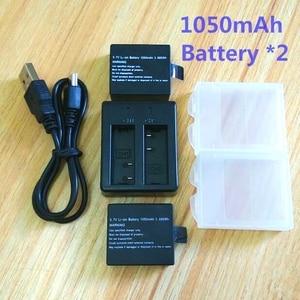 Image 2 - 1050 mAh battery charger for SJCAM Original sj4000 wifi Sj5000 M10 SJ7000 SJ9000 soocoo c30 EKEN H3 H9 Action Camera Accessories