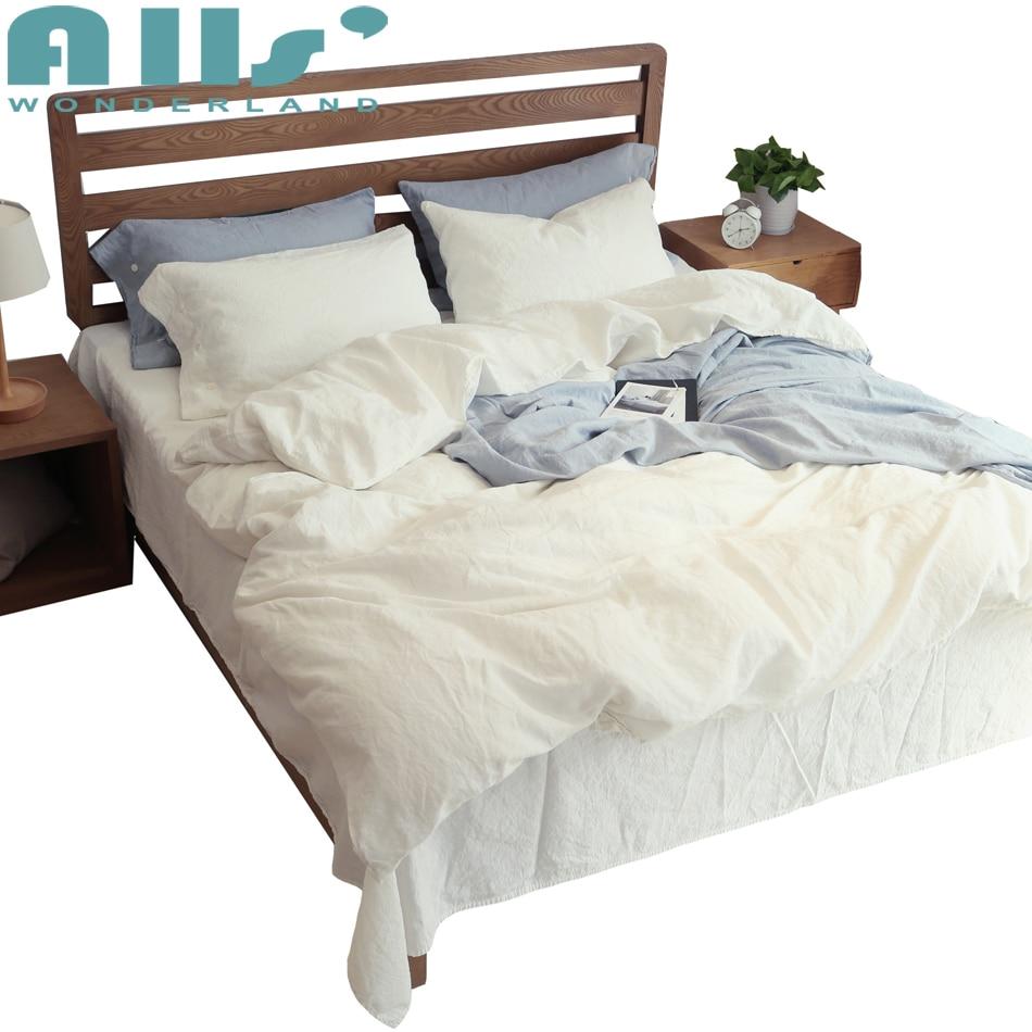 60% Linen 40% cotton white bedding set queen size Simple bedsheet pillowcase duvet cover set Luxury cozy bedlinen bedclothes
