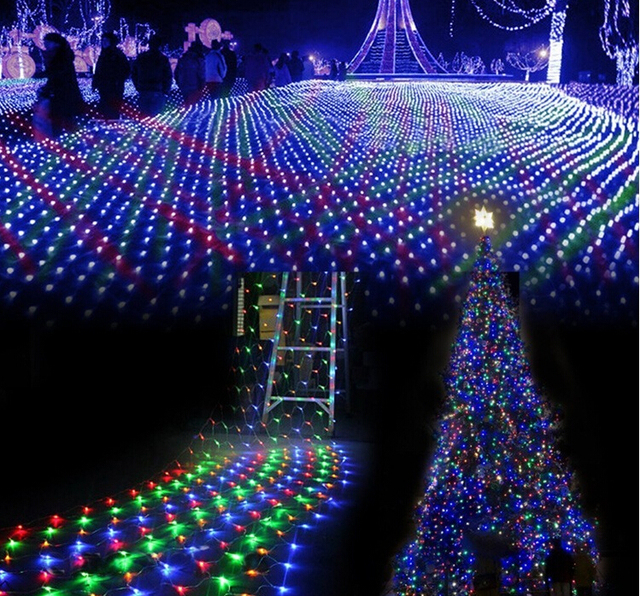 96 led net lights flashing holiday lamp series lawn nets outdoor lighting highlighting copper wire 15