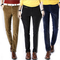 Autumn winter elastic corduroy pencil trousers mens slim fit corduroy pants male business casual corduroy trousers cotton
