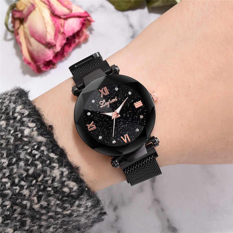 זרוק משלוח אופנה שעון נשים רומנטי שמי זרועי הכוכבים שעון יד מזדמן מרובה צבע פלדת רשת חגורת ריינסטון שעון 4EA