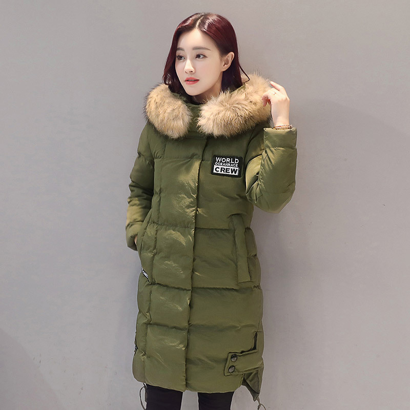 2017 winter new arrival casual solid color long cotton padded coat with fur hooded women jaqueta feminina inverno parkas MF4 jaqueta feminina inverno new autumn winter women jacket cotton padded casual slim coat emboridery hooded parkas plus size 3xl