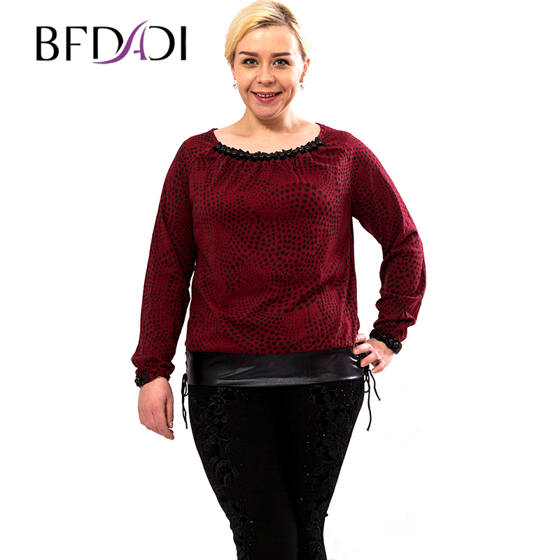 BFDADI New Fashion 2016 Long Sleeve Cotton Dot splice T Shirt Women Clothing O Neck loose tops High Street Casual 5xl 0895
