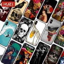 купить KUZI  Black Girl Luxury Phone Case for IPhone 6 S 6S 7 8 Plus Fundas IPhone 7 Case Soft TPU Cover Case for IPhone X XS 7plus дешево