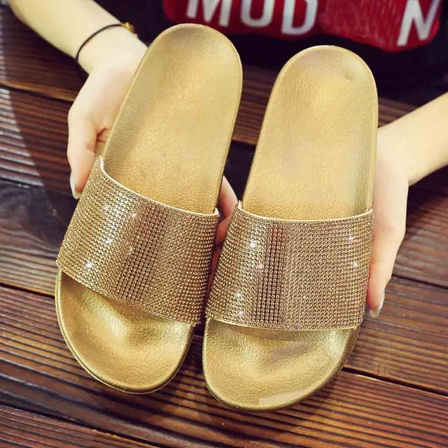 Perimedes Womens Flat Slides Sandals Diamante Sparkly Sliders Colorful Diamond Slippers zapatos de mujer