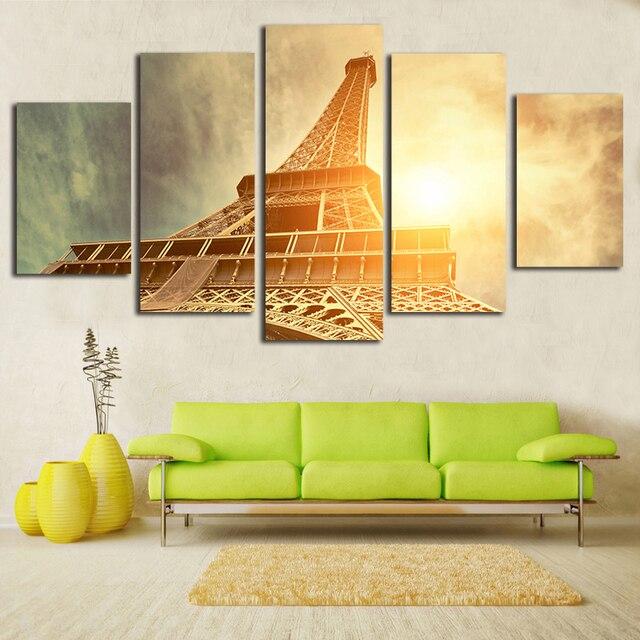 Paris City Canvas Paintings Eiffel Tower Modular Picture 5 Pieces ...