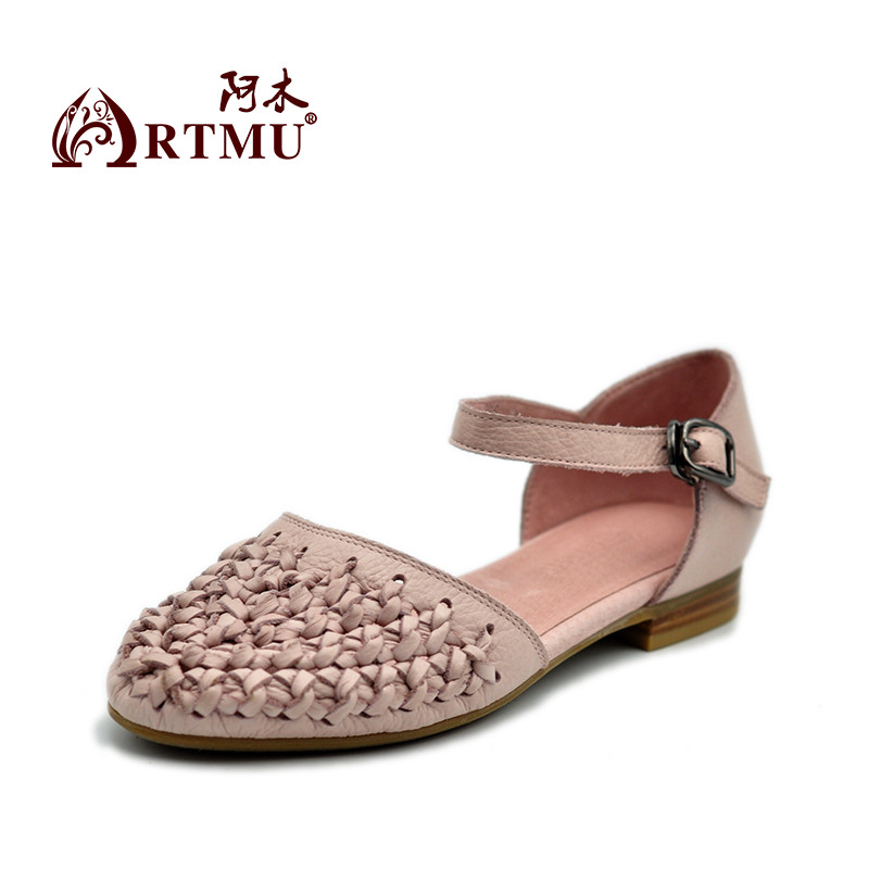 Artmu Gladiator Sandals Women Hollow Ladies Shoes Handmade Leather Shoes Sandalias Zapatos De Mujer For Women Sweet Low Heel womans sandals hollow ladies sandals sandalias de mujer womens flat sandals summer 2016 zapatos mujer verano shoes woman