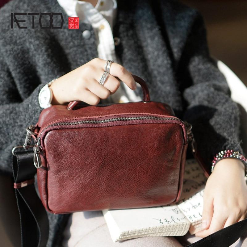 AETOO British style fashion retro handmade cowhide bag lady leather shoulder oblique cross bag casual small