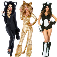 Sexy Cat Woman Fancy Dress Costume Furry Leopard Jumpsuit Fluffy Skunk Bodysuit Wildcat Fever Animal Costume