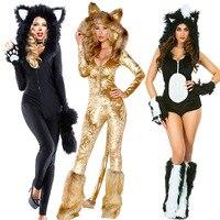 Sexy Cat Woman Fancy Dress Kostium Owłosiony Leopard Kombinezon Puszyste Body Wildcat Gorączka Skunk Zwierząt Kostium Halloween Carnival
