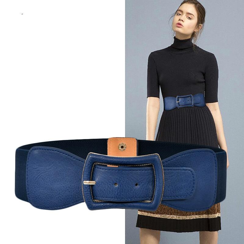 Apparel Accessories 6cm Wide Solid Color Female PU Leather Elastic Tight Seal Waist Matching Skirt Decorative Belt Cummerbunds