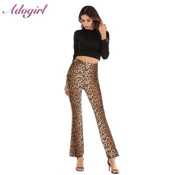цена Casual Women Leopard Print High Waist Long Pants Summer Fashion Streetwear Bar Wide Leg Flare Pants Female Office Lady Trousers онлайн в 2017 году
