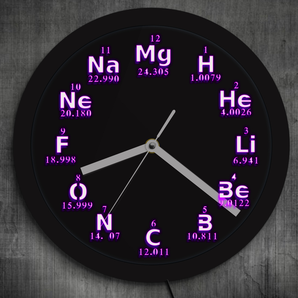 Periodic Table Element Wall Clock Science Chemical Elements LED Lighting Wall Clock Chem ...
