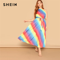 SHEIN Boho Plus Size Halter Neck Sleeveless Women Rainbow Maxi Dress With Belt Summer Beach Vacation Tied Waist Long Dresses