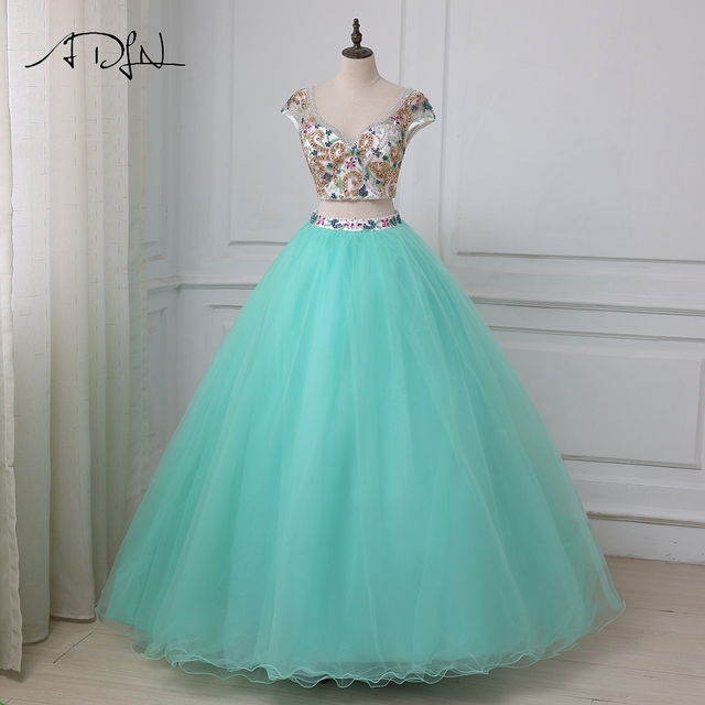 7287093fe1057 US $166.5 26% OFF|ADLN New Arrival Sexy Quinceanera Dresses Luxury Beaded  Crystals Ball Gown Two Pieces Crop Top Sweet 16 Dress Party Gowns-in ...