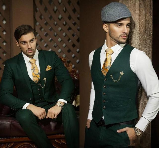 2018 Hot Dark Hunter Green Men Suit Groom Tuxedos Notch Lapel Men Blazer Prom Suit Business Suit (Jacket+Pants+Vest)