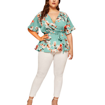 Women Blouse Plus Size Sexy V Neck Floral Print Flare Sleeve Belted Surplice Peplum Tops And Blouse Blusas Feminina Блузка #BL4 surplice neck mixed media dress