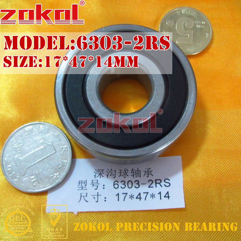ZOKOL 6303 RS ZZ RSN Bearing 6303 2RS Z1 Z2 6303ZZ 6303-2RSN Deep Groove Ball Bearing 17*47*14mm