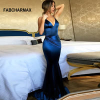 v neck spaghetti strap long pleated dress summer ladies mermaid evening party dresses women backless sexy elegant maxi dresses