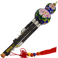 Chinese Traditional Instrument Hulusi With Cloisonne Gourd Cucurbit Flute Bamboo Pipes Musical Instruments Key of C Bb Tone F07