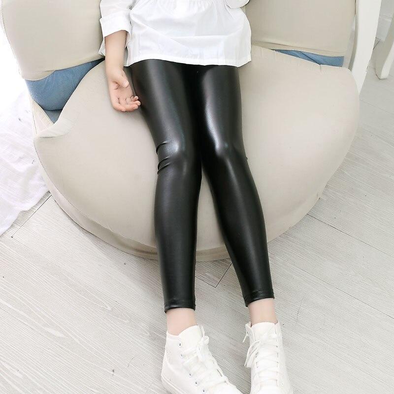 Meninas de alta qualidade do falso couro leggings crianças calças de couro meninas calças