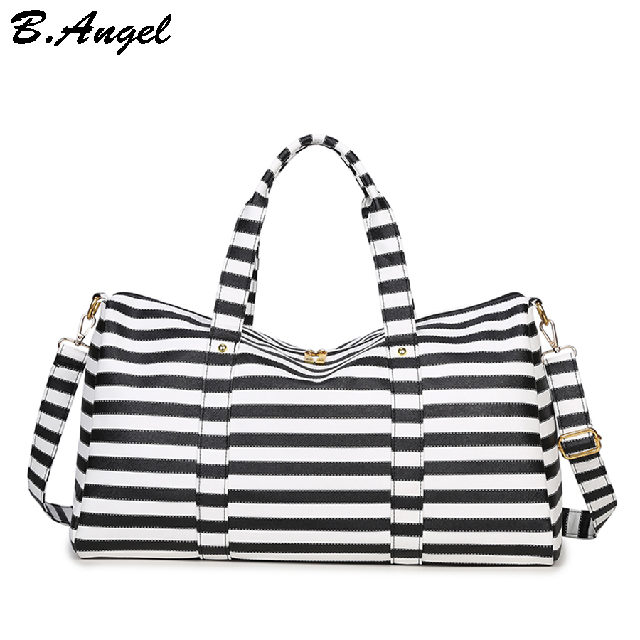 Famous brand stripes luggage leather men travel bags Women bag handbag tote  bag dollar price FM 491c6713b79f7