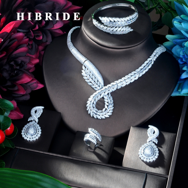 HIBRIDE Unique Design 4 pcs Leaf Shape Pendant Luxury Women Jewelry Set For Bridal Party Accessories