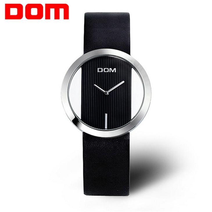 200m Waterproof 2016 Fashion DOM Hollow Watch Women Genuine leather strap Quartz Watch relogio feminino Brand