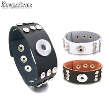 Fashion 099 Interchangeable Really Genuine Leather Crystal Bracelet 18mm Snap Button Bangle Charm Jewelry For Women Men Gift