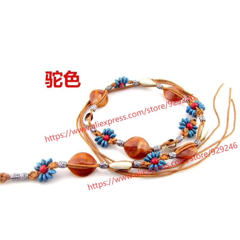 2pcs/lot camel dark brown waxed rope with beads stones bohemian style woman braided rope garment dress decorative accessory