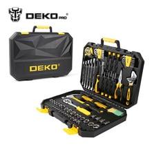 DEKOPRO 128-Piece Handwerkzeug Set Allgemeine Haushalt Hand-werkzeug-set mit Kunststoff Toolbox Aufbewahrungskoffer Hammer Zange Schraubendreher Messer