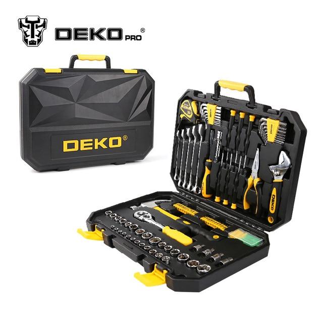 DEKOPRO 128-Piece Hand Tool Set General Household Hand Tool Kit with Plastic Toolbox Storage Case Hammer Plier Screwdriver Knife