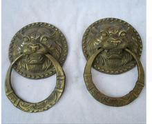 Copper Brass 1 Pair of Chinese Old Bronze Carved tiger head Doorbell /Antiqu Metal ,Big old style