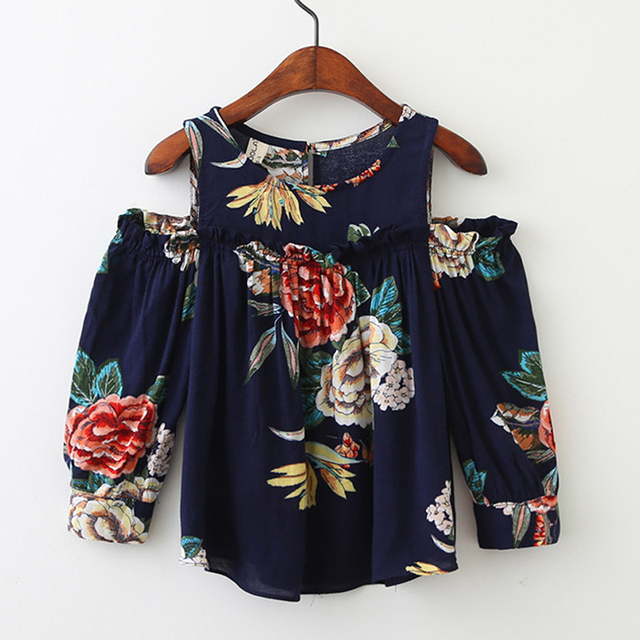Girls' Floral Worsted Cotton Blouse