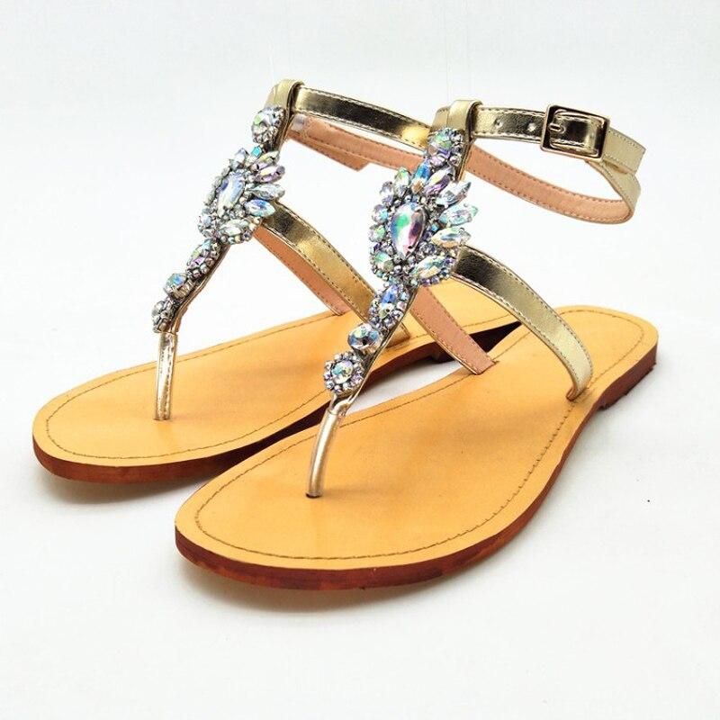 Nouveau Y0712069f Sexy Gold Femmes Eté Sur Sandales Pour Printemps Plat Mode Chaussures Cristal Slip Bohême Gladiateur De Strass Femme TxYUTqrw6