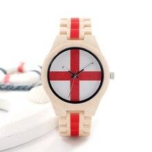 BOBO D29 BIRD UV Tecnología de Arce Impresa Woode Reloj Para Hombre Diseñador de la Marca Cross Impreso Reloj de Cuarzo Disfraces de Halloween Accesorio