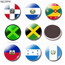 Flag Fridge Magnets Glass 30MM Luminous Refrigerator Magnet Dominica El Salvador Grenada Jamaica Haiti Honduras Guatemala