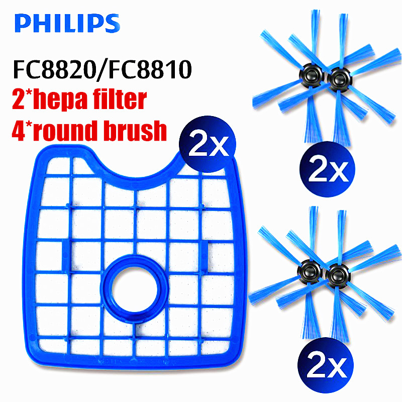 6 шт. вакуум Cleaner2 фильтр экран + 4 круглый кисточки для Philips робот FC8820 FC8810 FC8066 подметания робот интимные аксессуары